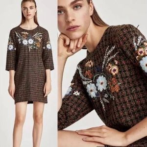 NWT Zara Tweed Shift Dress with Embroidery Sequins